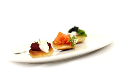 Smoked salmon, poached salmon, creamed cucumber, beetroot puree & horseradish dressing