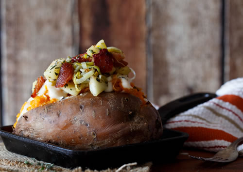 Stuffed Potatoes with guanciale and leeks